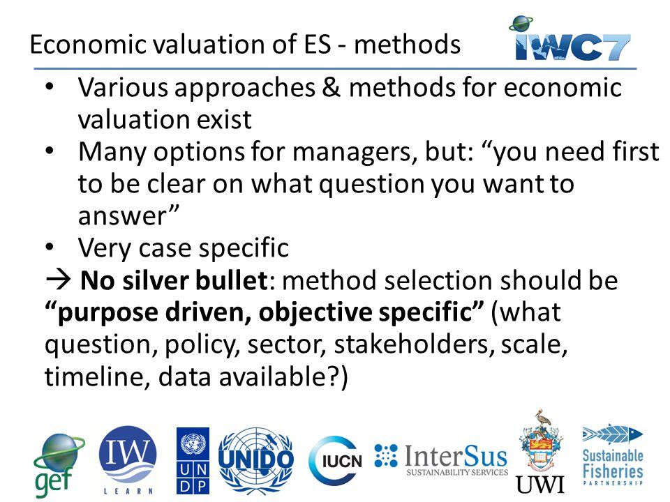 Economic valuation of ES - methods
