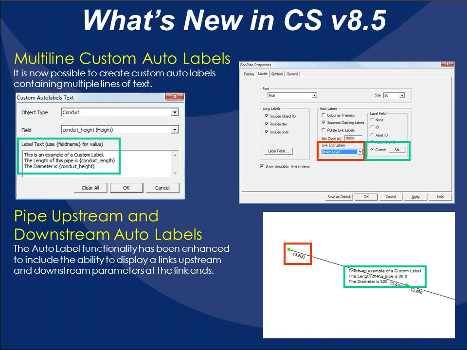 What's New in CS v8.5 Multiline Custom Auto Labels