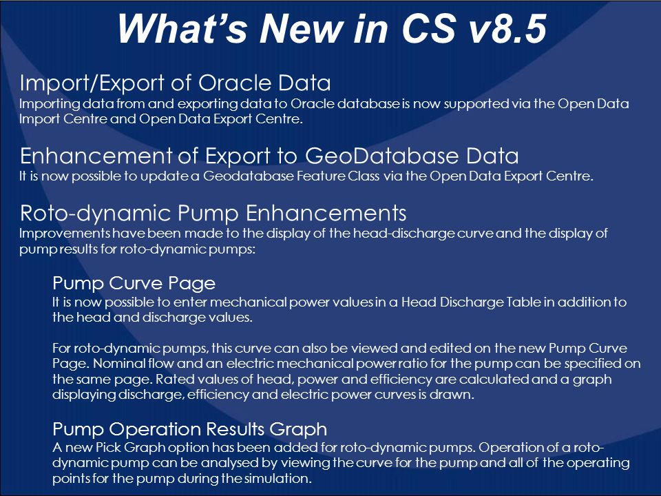 What's New in CS v8.5 Import/Export of Oracle Data