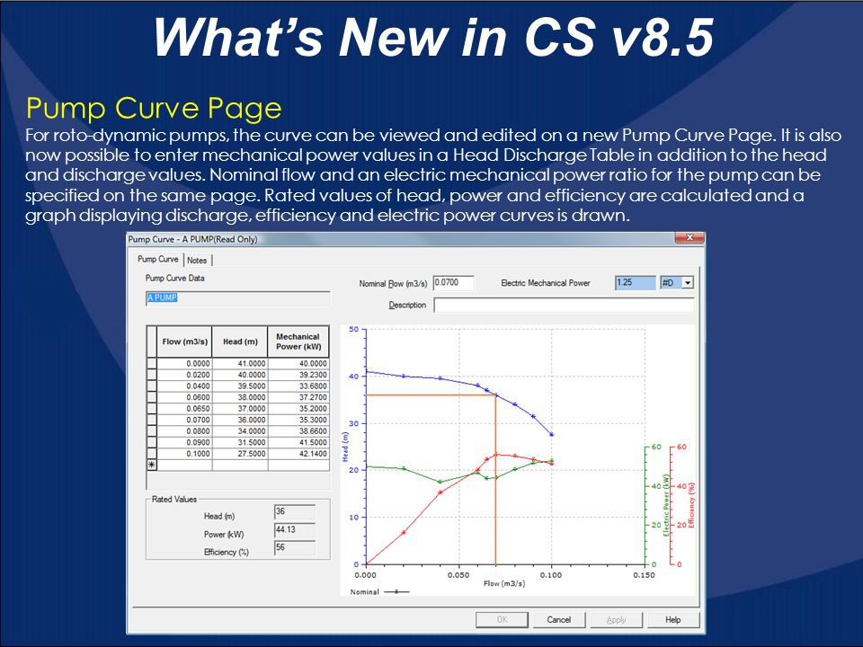 What's New in CS v8.5 Pump Curve Page
