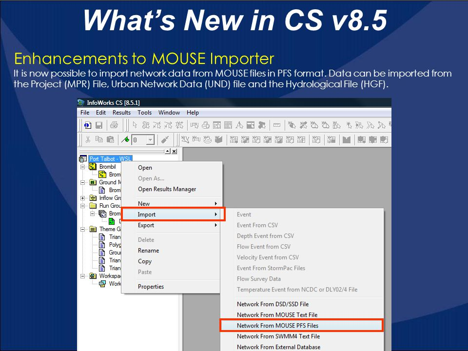 What's New in CS v8.5 Enhancements to MOUSE Importer
