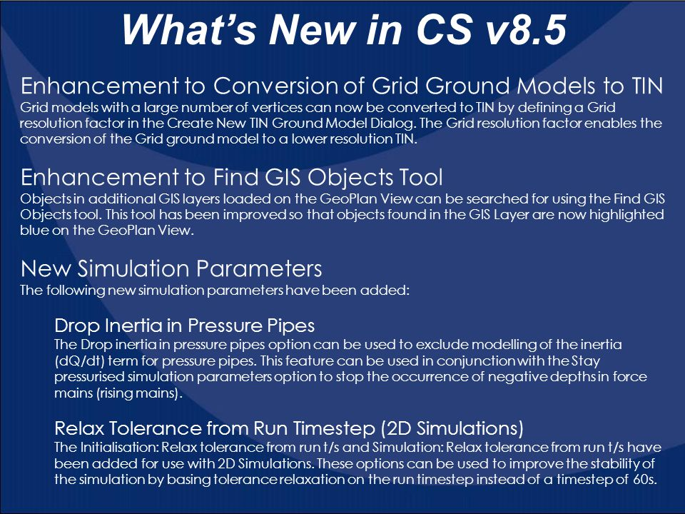 What's New in CS v8.5 Enhancement to Conversion of Grid Ground Models to TIN.