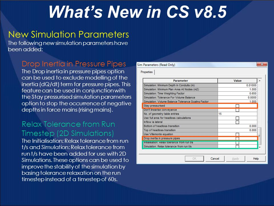 What's New in CS v8.5 New Simulation Parameters