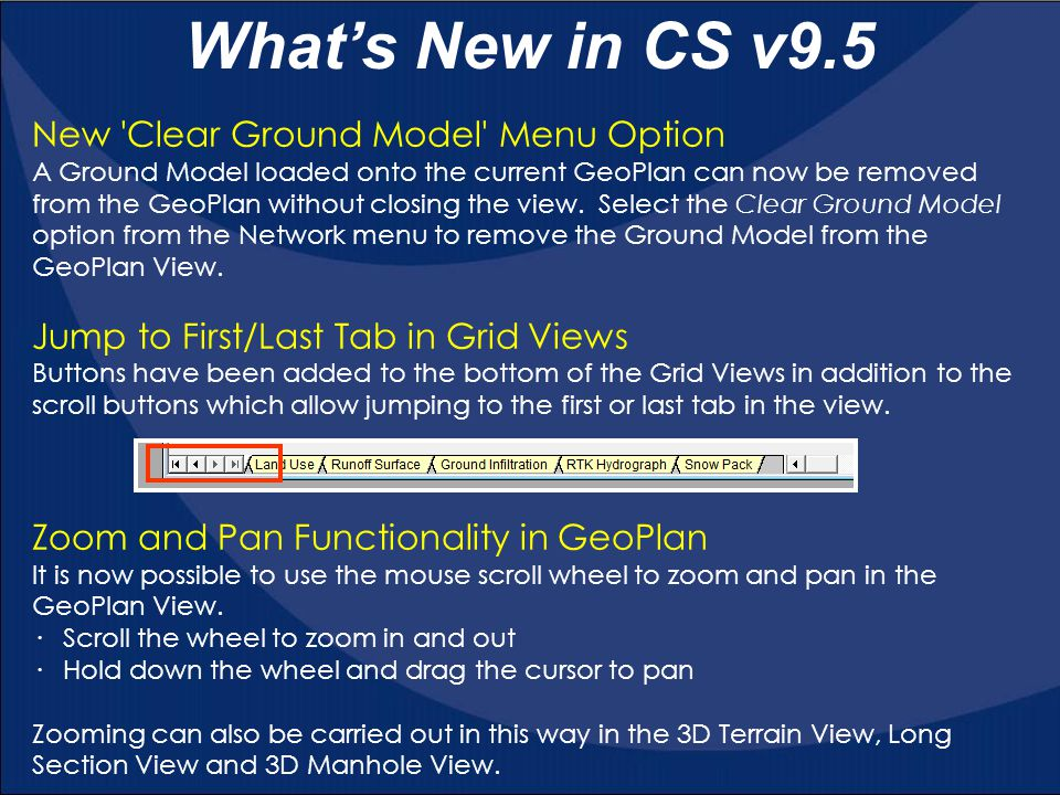 What's New in CS v9.5 New Clear Ground Model Menu Option