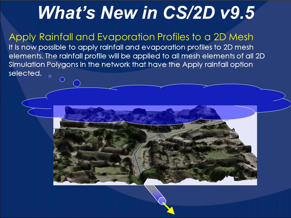 What's New in CS/2D v9.5 Apply Rainfall and Evaporation Profiles to a 2D Mesh.