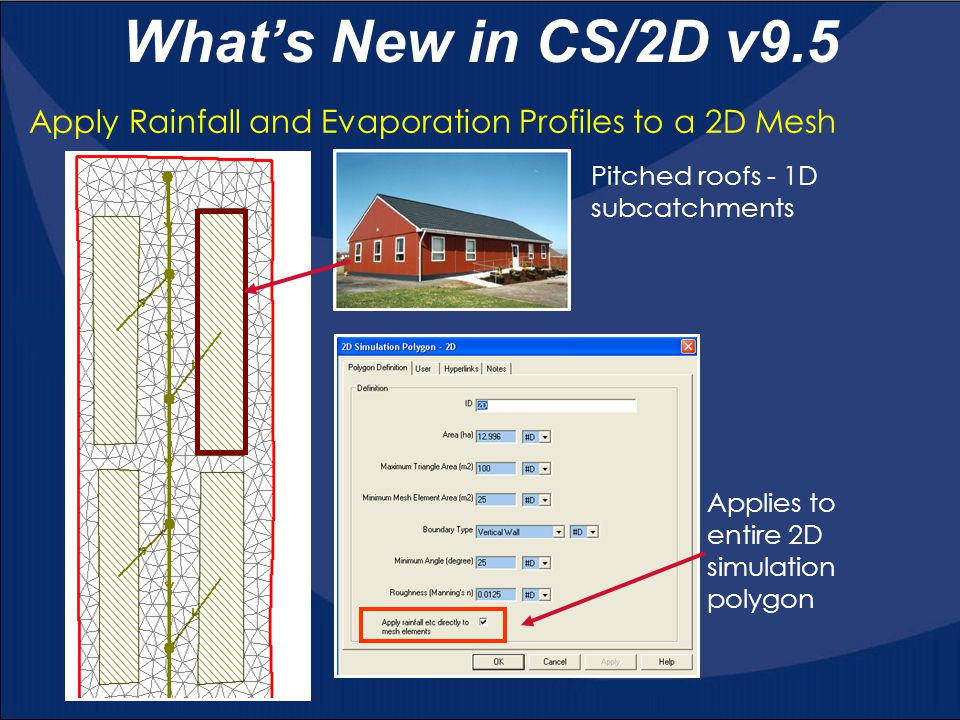 What's New in CS/2D v9.5 Apply Rainfall and Evaporation Profiles to a 2D Mesh. Applies to entire 2D simulation polygon.