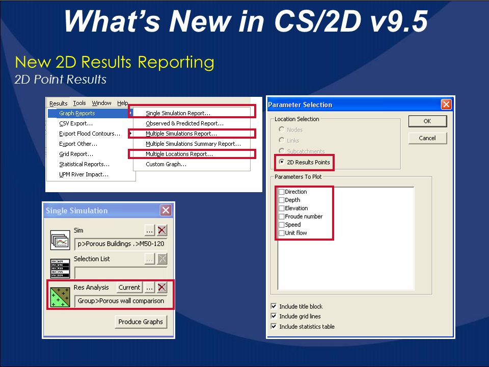 What's New in CS/2D v9.5 New 2D Results Reporting 2D Point Results