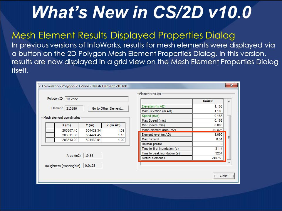 What's New in CS/2D v10.0 Mesh Element Results Displayed Properties Dialog.