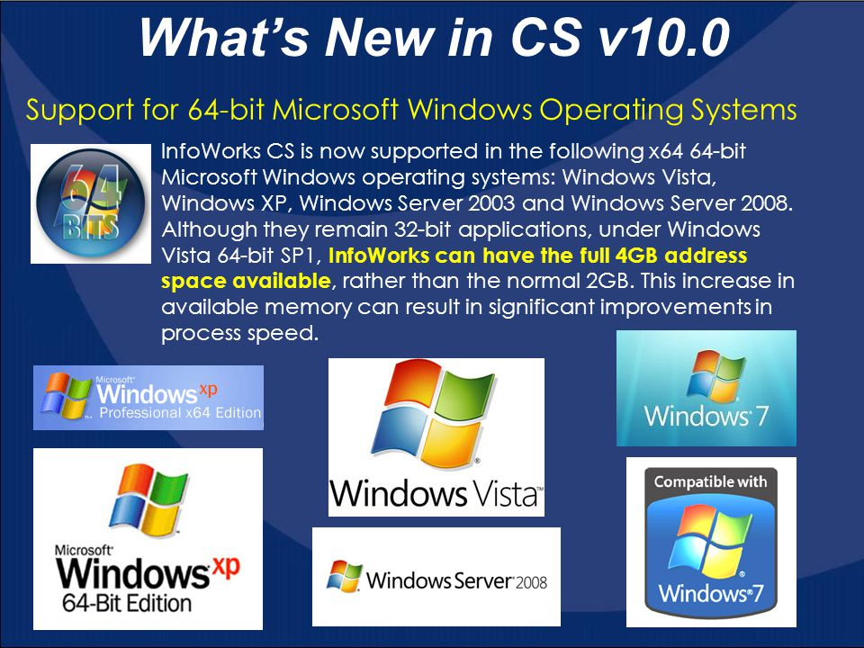 What's New in CS v10.0 Support for 64-bit Microsoft Windows Operating Systems.