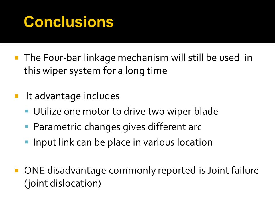 Conclusions The Four-bar linkage mechanism will still be used in this wiper system for a long time.