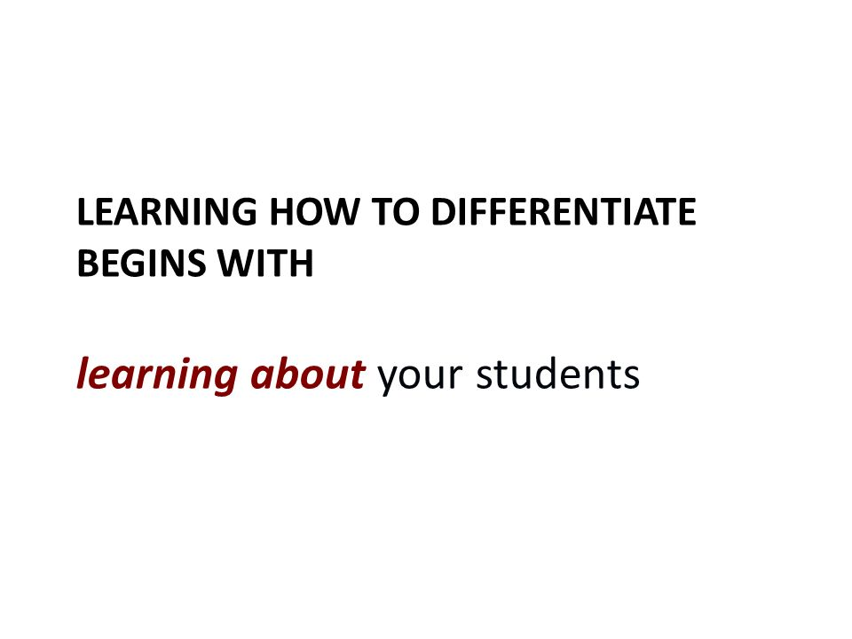 Learning how to differentiate begins with