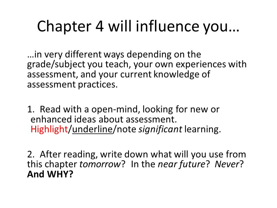 Chapter 4 will influence you…