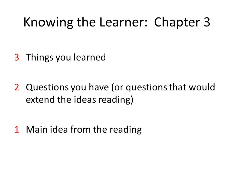 Knowing the Learner: Chapter 3