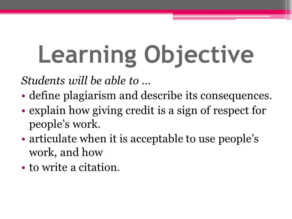 Learning Objective Students will be able to ...