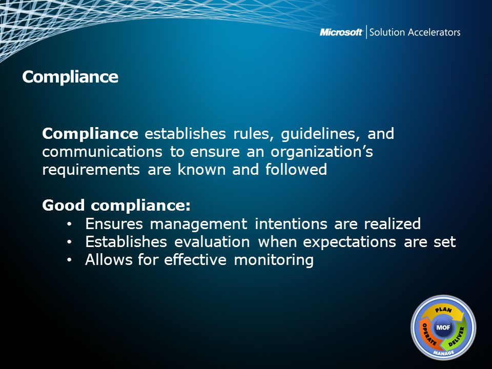 Compliance establishes rules, guidelines, and communications to ensure an organization's requirements are known and followed
