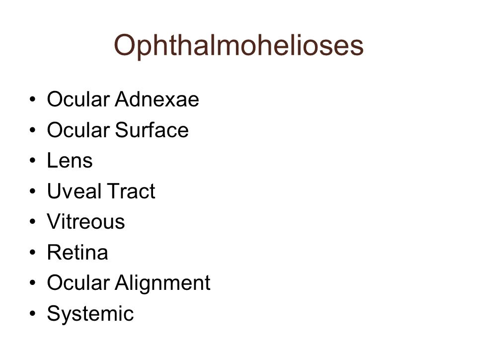 Ophthalmohelioses Ocular Adnexae Ocular Surface Lens Uveal Tract