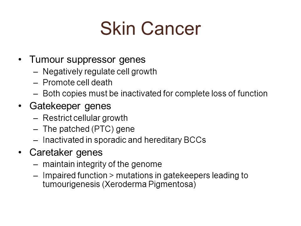 Skin Cancer Tumour suppressor genes Gatekeeper genes Caretaker genes