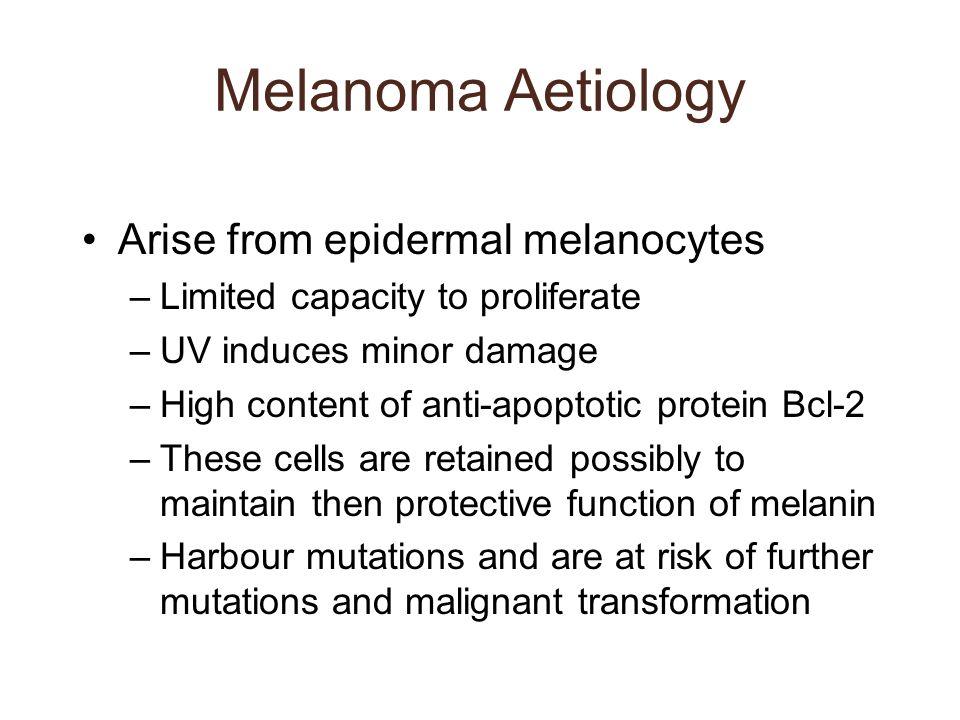 Melanoma Aetiology Arise from epidermal melanocytes