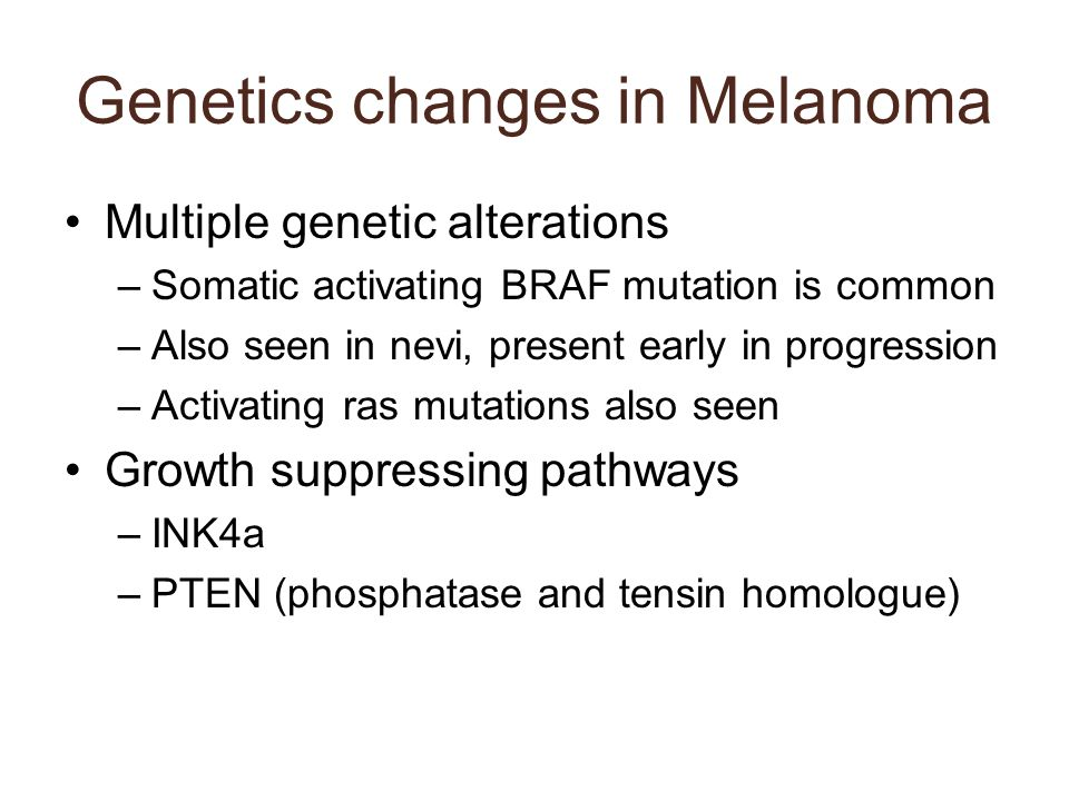 Genetics changes in Melanoma