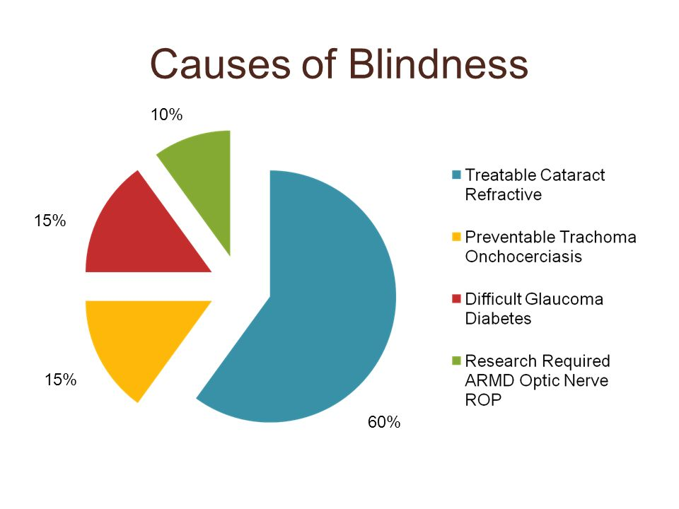 Causes of Blindness 10% 15% 15% 60% Infectious causes decreasing