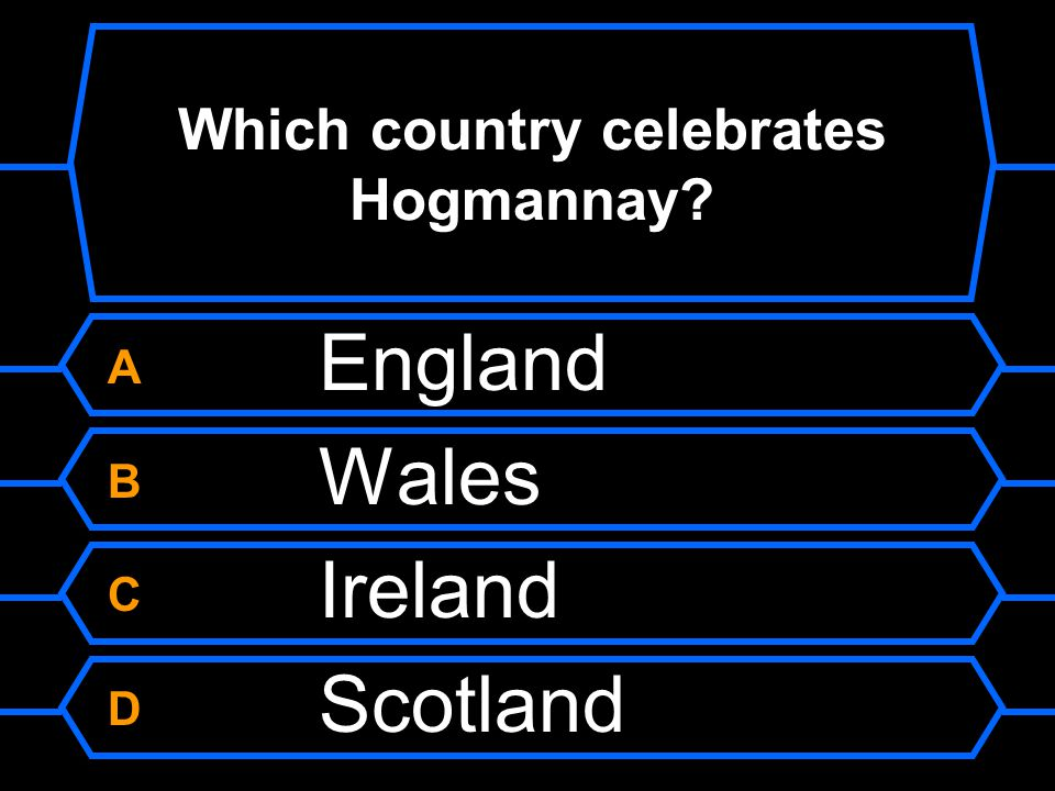 Which country celebrates Hogmannay