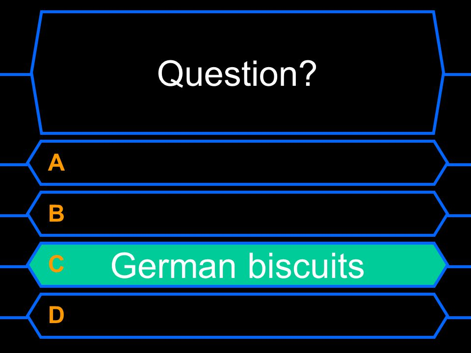 Question A B C D German biscuits