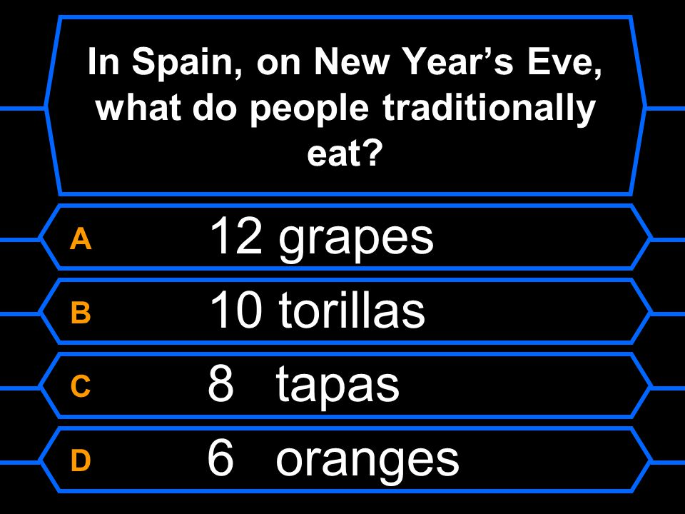 In Spain, on New Year's Eve, what do people traditionally eat