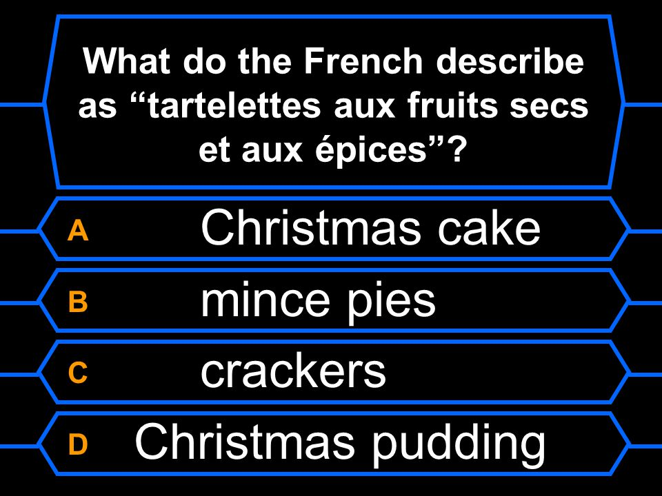 A Christmas cake B mince pies C crackers D Christmas pudding