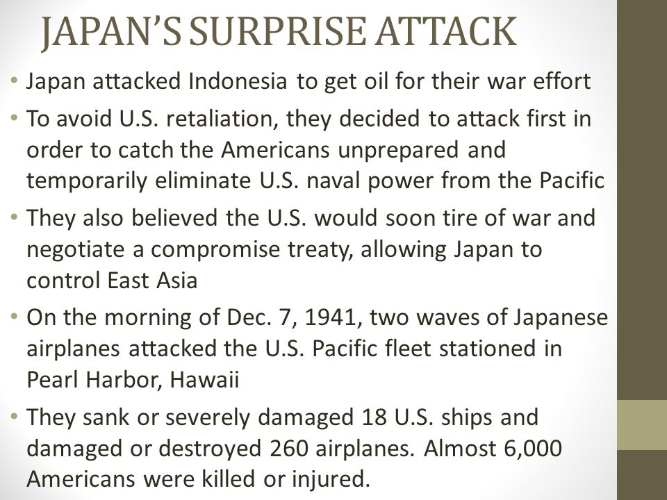 JAPAN'S SURPRISE ATTACK