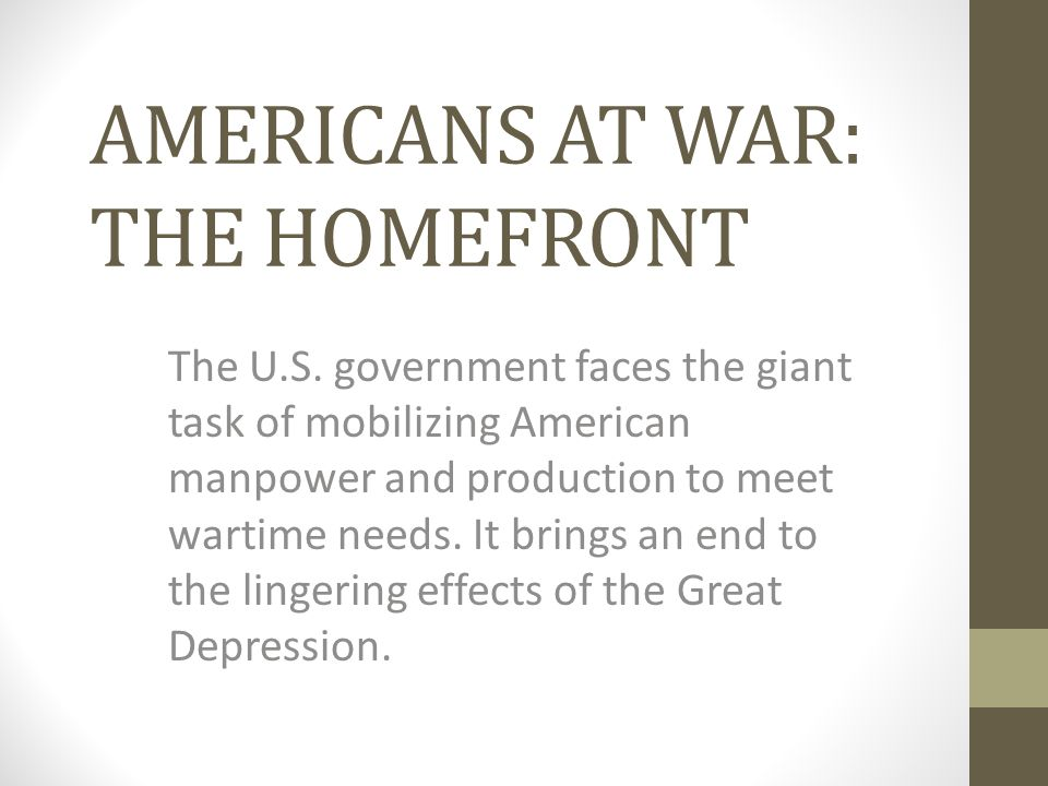 AMERICANS AT WAR: THE HOMEFRONT