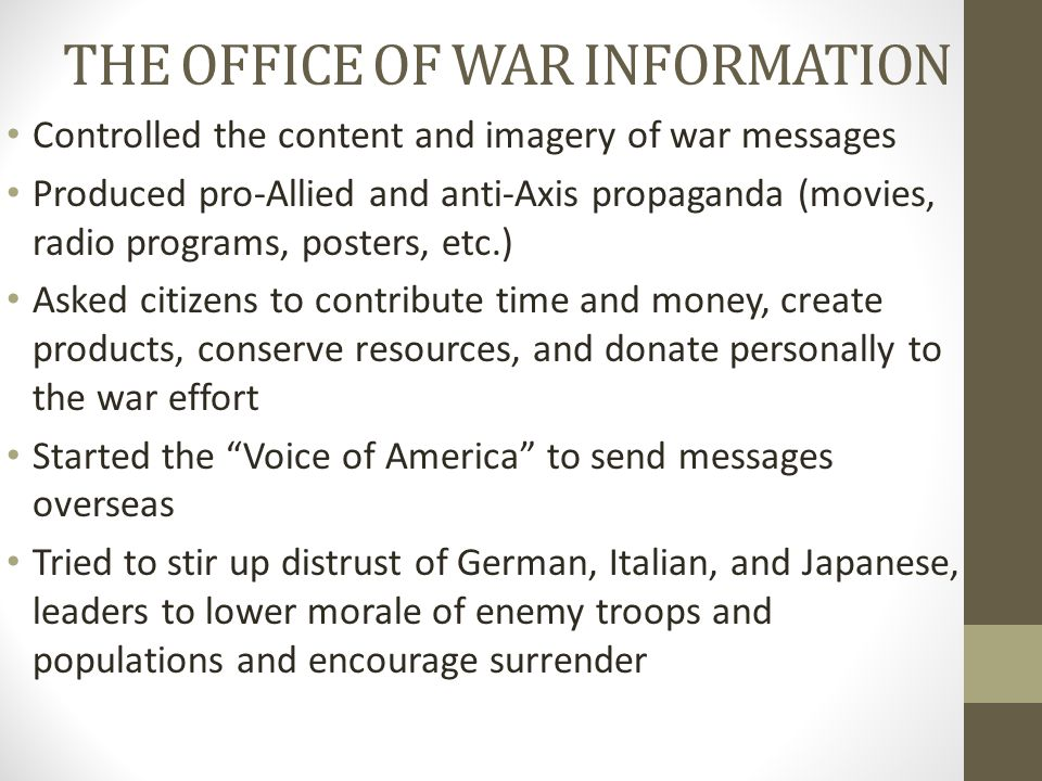 THE OFFICE OF WAR INFORMATION