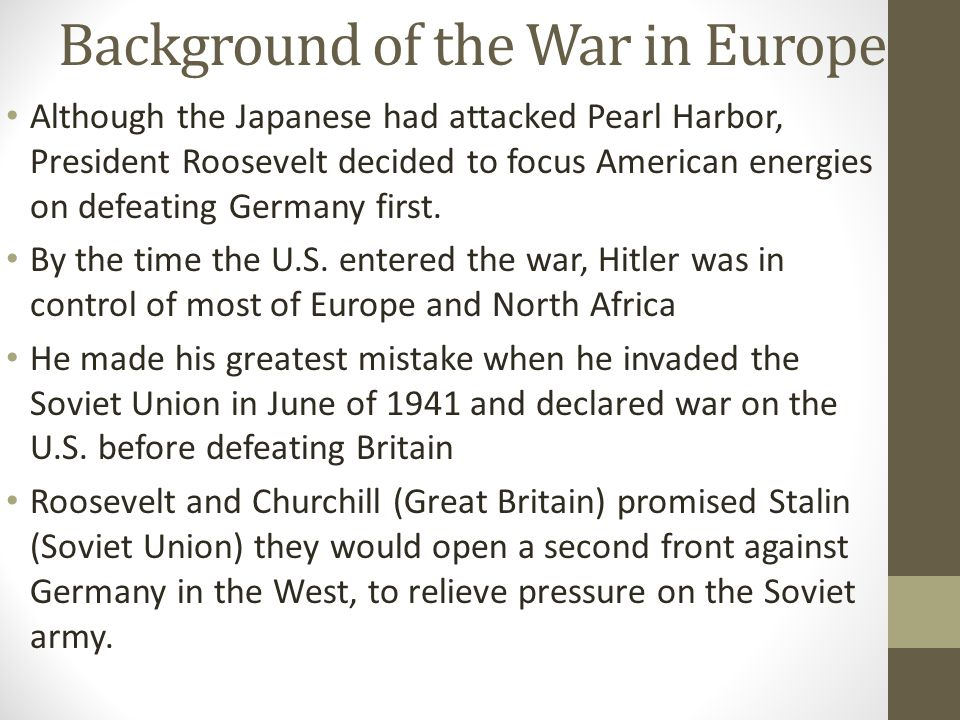 Background of the War in Europe