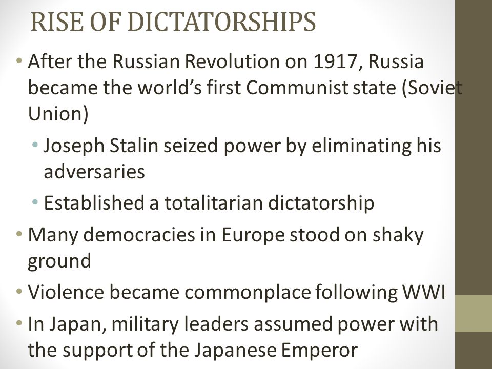 RISE OF DICTATORSHIPS After the Russian Revolution on 1917, Russia became the world's first Communist state (Soviet Union)