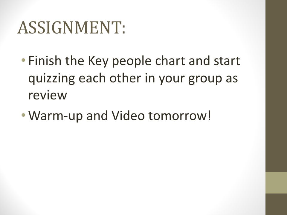 ASSIGNMENT: Finish the Key people chart and start quizzing each other in your group as review.