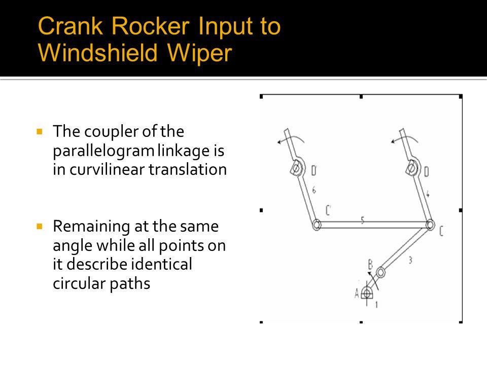 Crank Rocker Input to Windshield Wiper