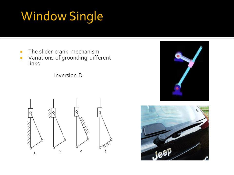 Window Single Arm The slider-crank mechanism