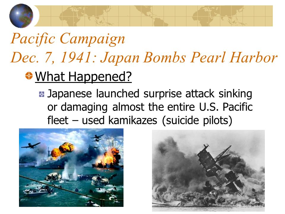 Pacific Campaign Dec. 7, 1941: Japan Bombs Pearl Harbor