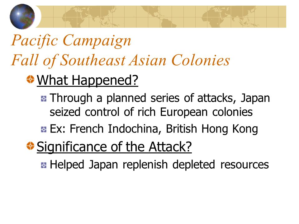 Pacific Campaign Fall of Southeast Asian Colonies