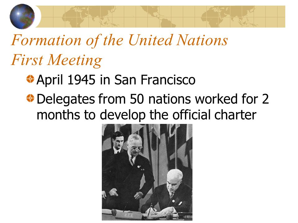Formation of the United Nations First Meeting