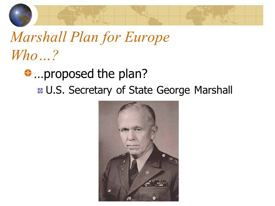 Marshall Plan for Europe Who…