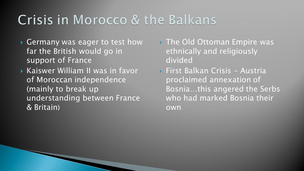 Crisis in Morocco & the Balkans