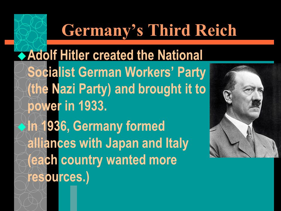 Germany's Third Reich Adolf Hitler created the National Socialist German Workers' Party (the Nazi Party) and brought it to power in 1933.
