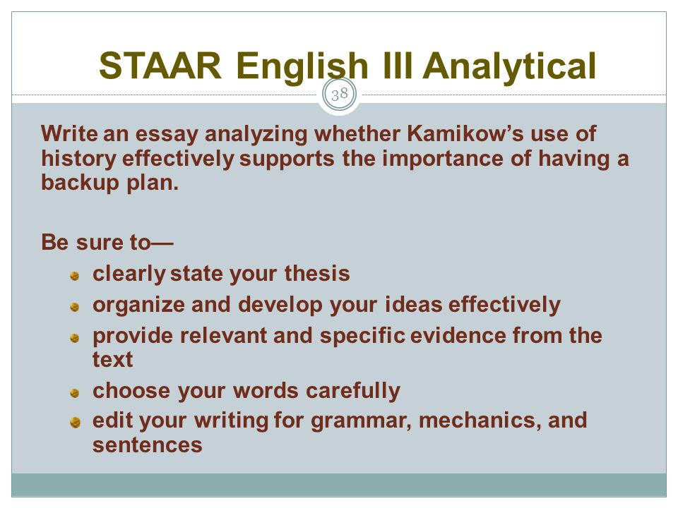 Classification Essay Thesis Staar English Iii Analytical Simple Essays In English also Research Essay Thesis English I Ii Iii Reading And Writing Administrators Overview  Essays On Health