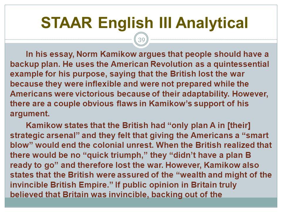 STAAR English III Analytical
