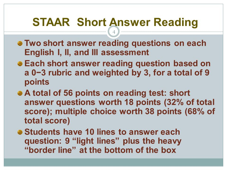 STAAR Short Answer Reading