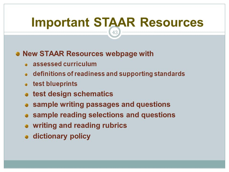 Important STAAR Resources