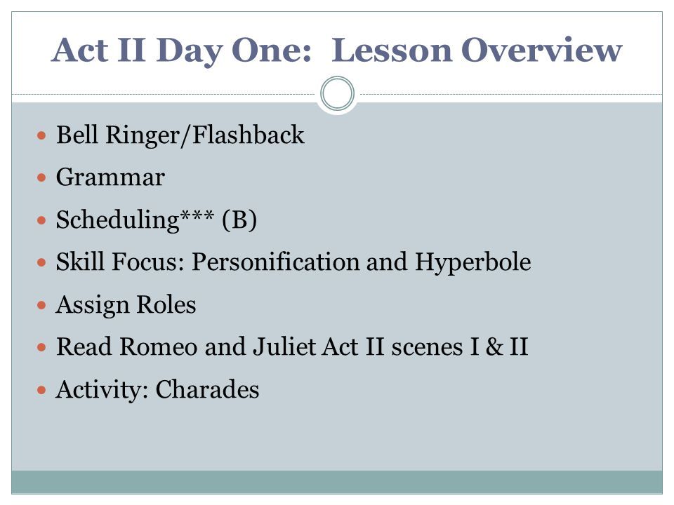 Act II Day One: Lesson Overview