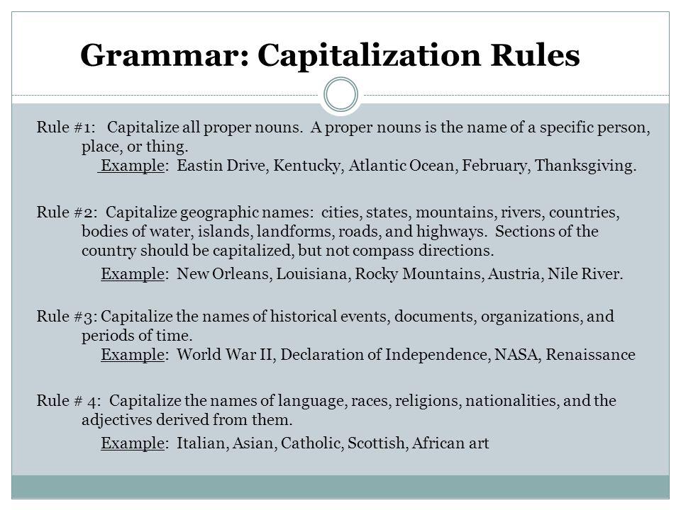 Grammar: Capitalization Rules