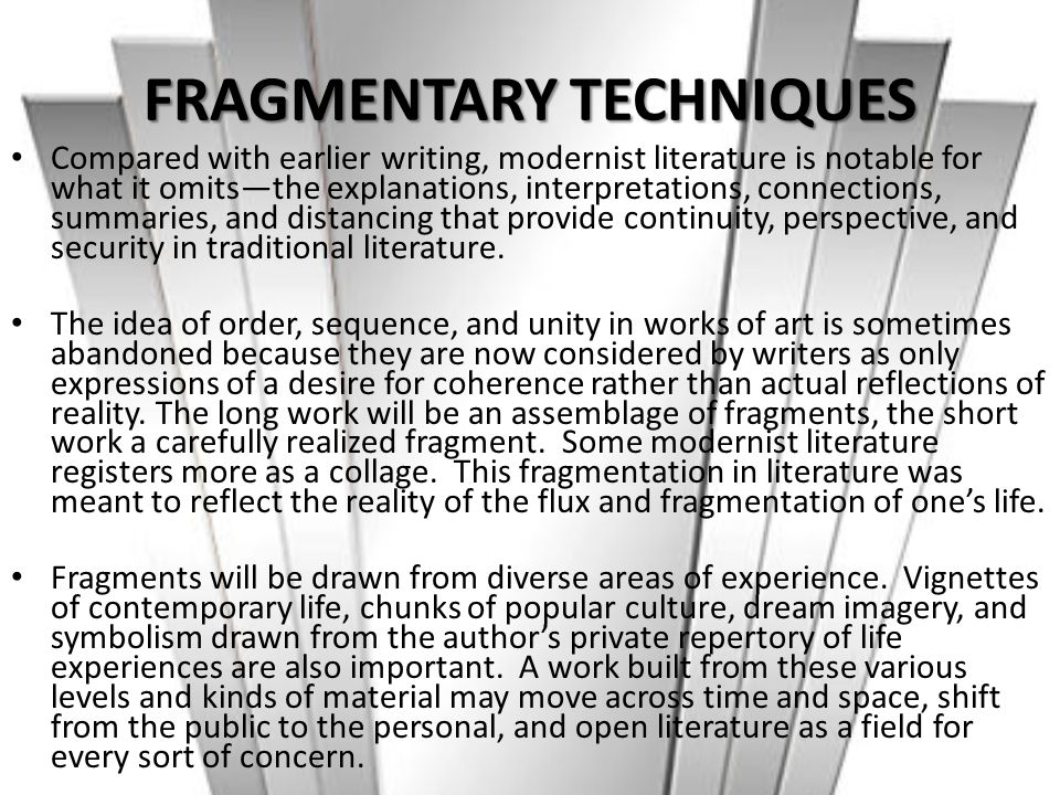 FRAGMENTARY TECHNIQUES