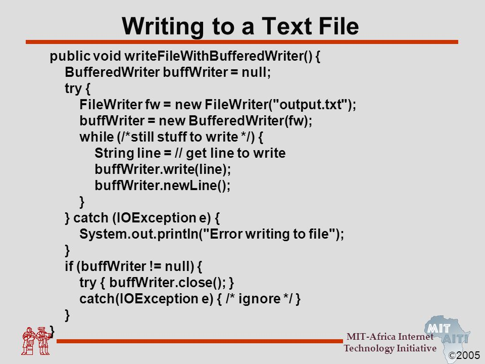 Writing to a Text File public void writeFileWithBufferedWriter() {